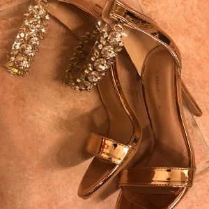 Shoes - Rhinestone rose gold strappy heels